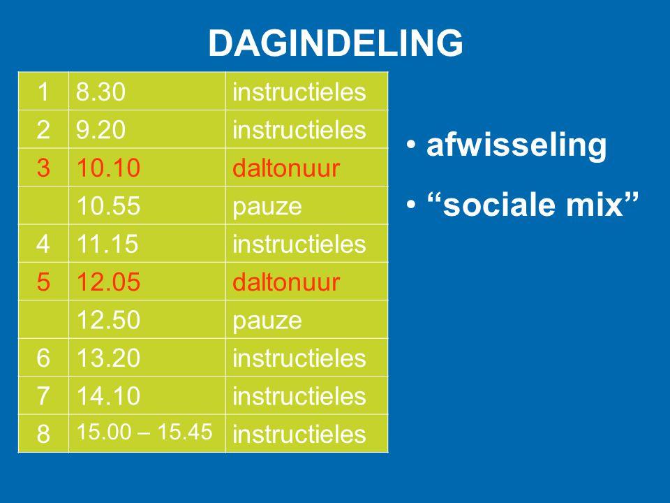 DAGINDELING afwisseling sociale mix 1 8.30 instructieles 2 9.20 3