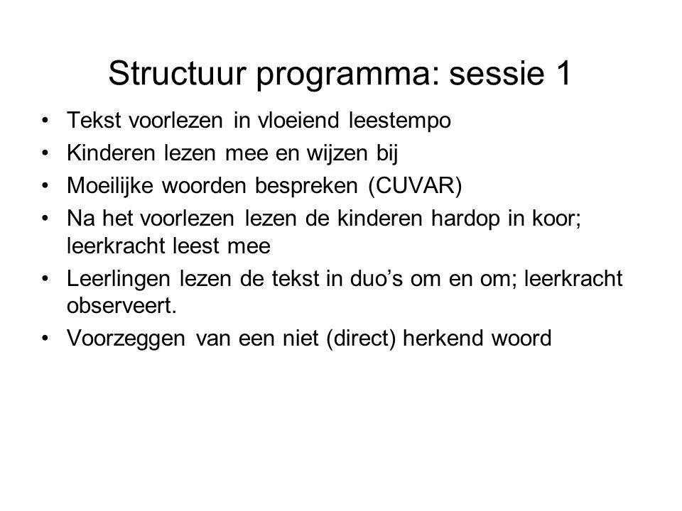 Structuur programma: sessie 1