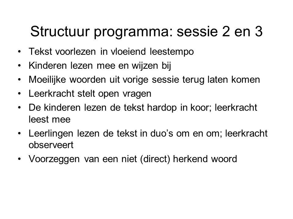 Structuur programma: sessie 2 en 3