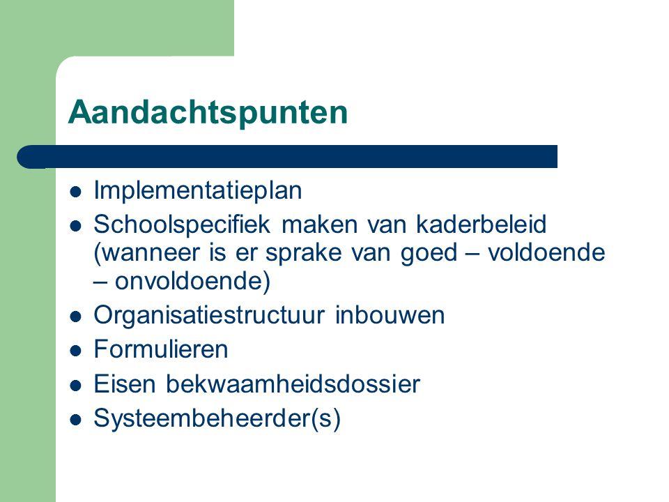 Aandachtspunten Implementatieplan