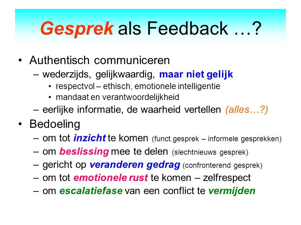 Gesprek als Feedback … Authentisch communiceren Bedoeling