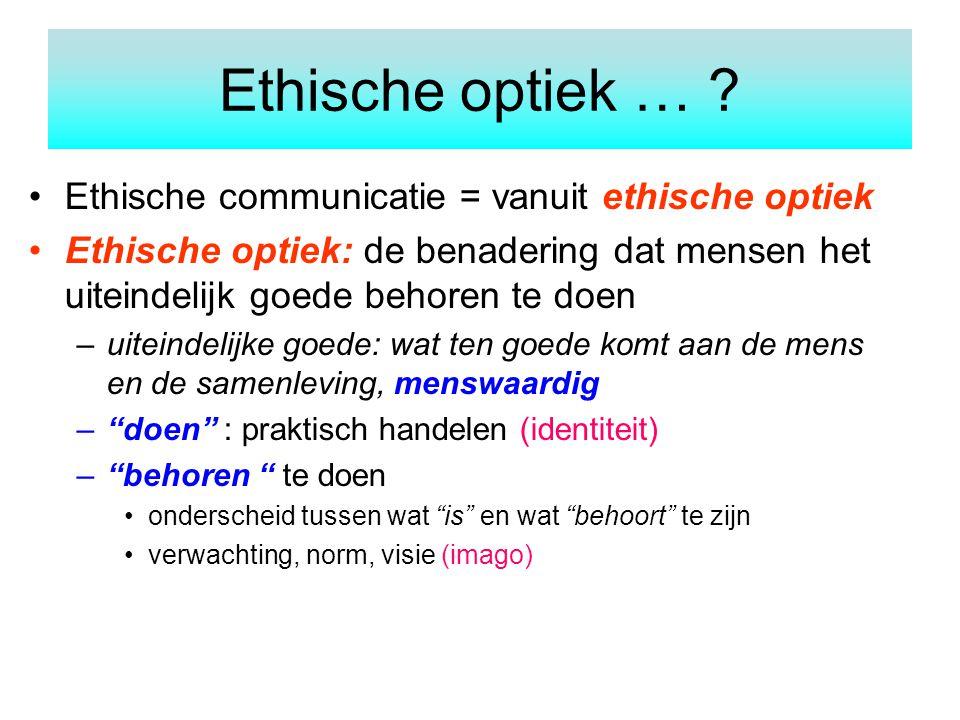 Ethische optiek … Ethische communicatie = vanuit ethische optiek