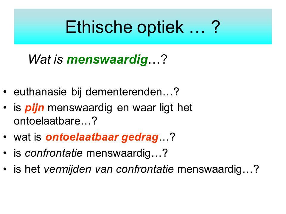 Ethische optiek … Wat is menswaardig…