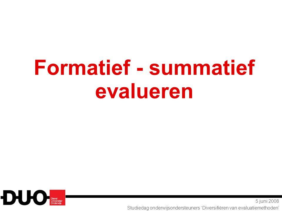 Formatief - summatief evalueren