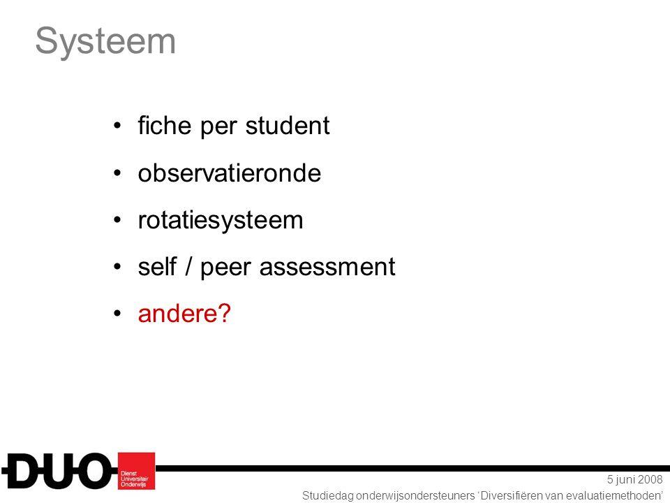 Systeem fiche per student observatieronde rotatiesysteem