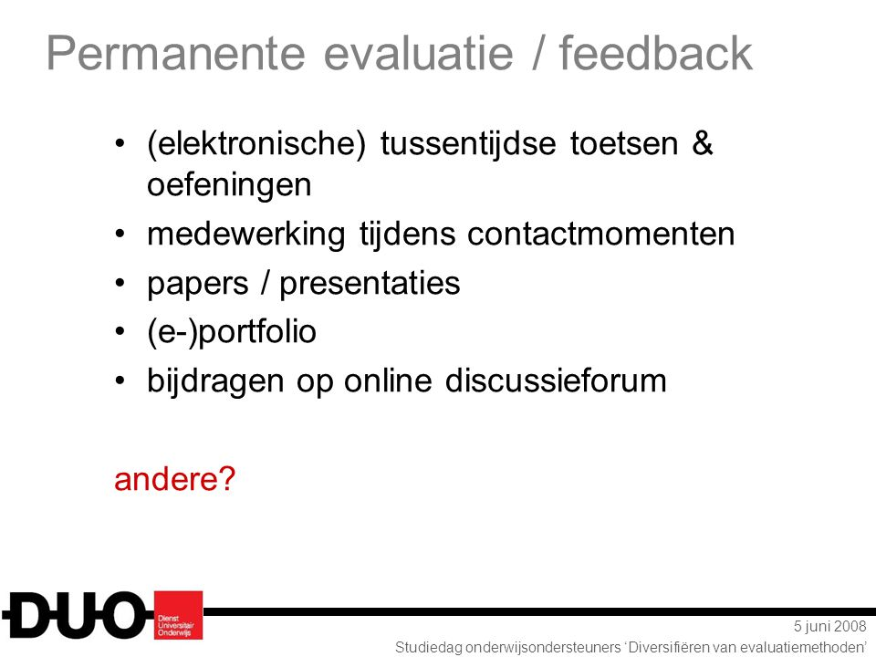 Permanente evaluatie / feedback