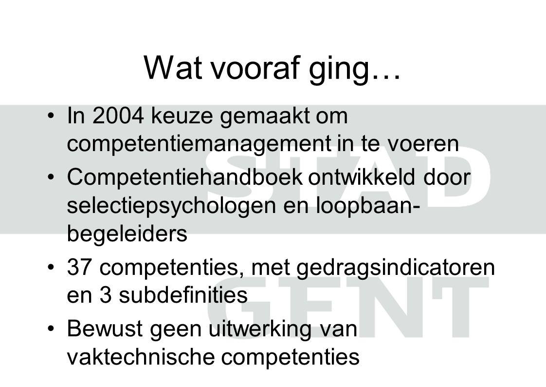Wat vooraf ging… In 2004 keuze gemaakt om competentiemanagement in te voeren.