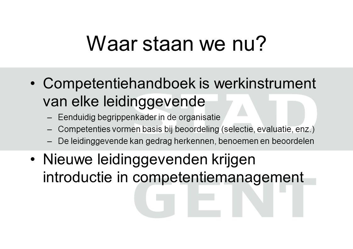 Waar staan we nu Competentiehandboek is werkinstrument van elke leidinggevende. Eenduidig begrippenkader in de organisatie.