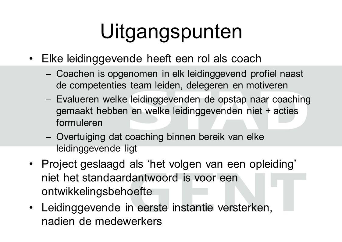 Uitgangspunten Elke leidinggevende heeft een rol als coach