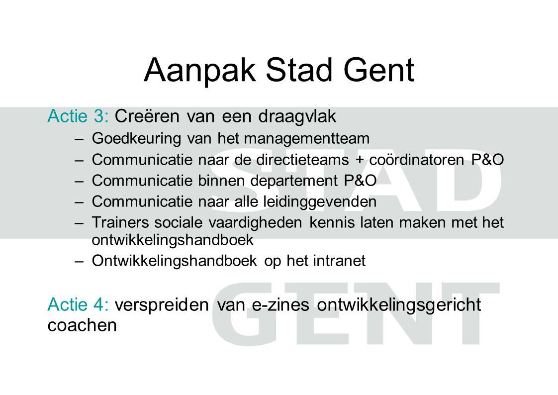 Aanpak Stad Gent Actie 3: Creëren van een draagvlak