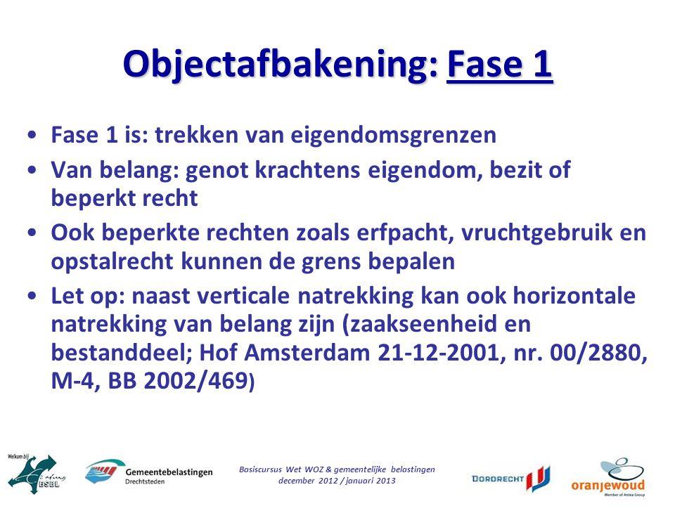 Objectafbakening: Fase 1