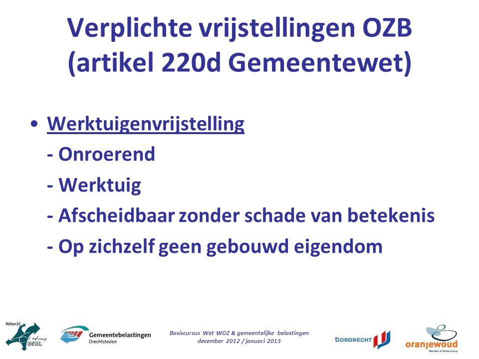 Verplichte vrijstellingen OZB (artikel 220d Gemeentewet)