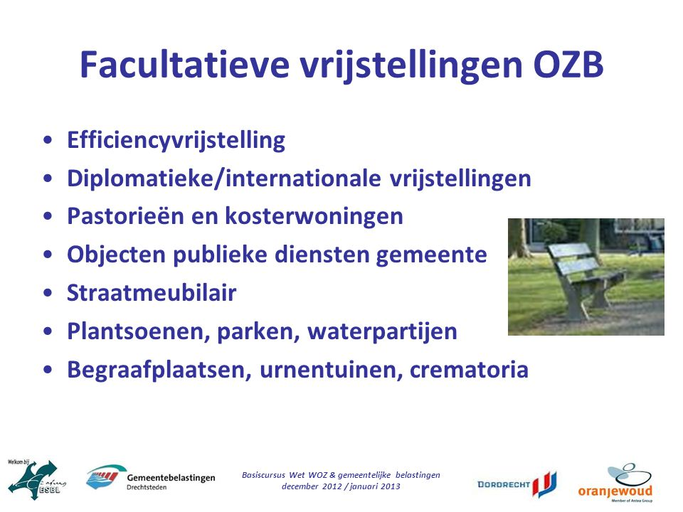 Facultatieve vrijstellingen OZB