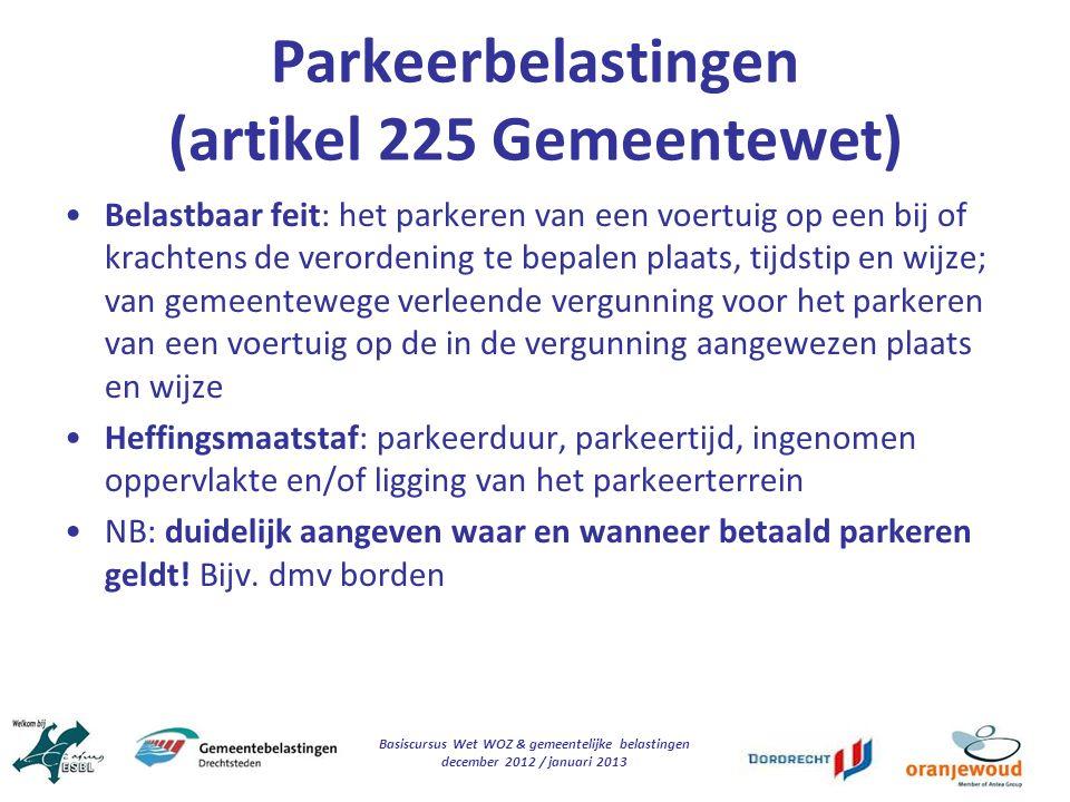 Parkeerbelastingen (artikel 225 Gemeentewet)