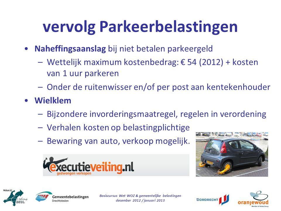vervolg Parkeerbelastingen