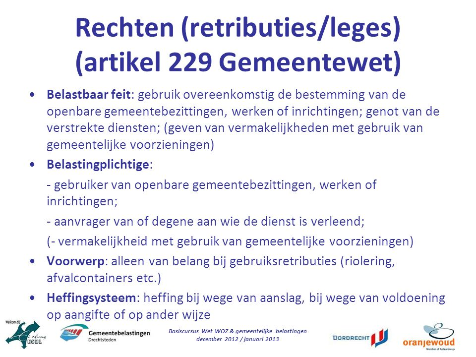 Rechten (retributies/leges) (artikel 229 Gemeentewet)