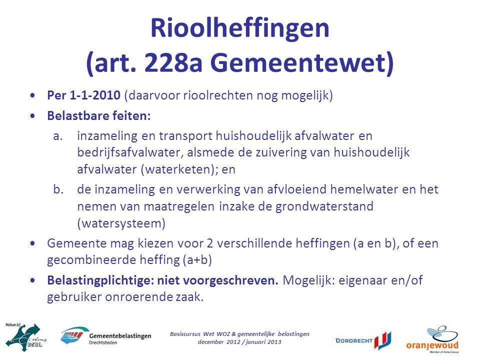 Rioolheffingen (art. 228a Gemeentewet)