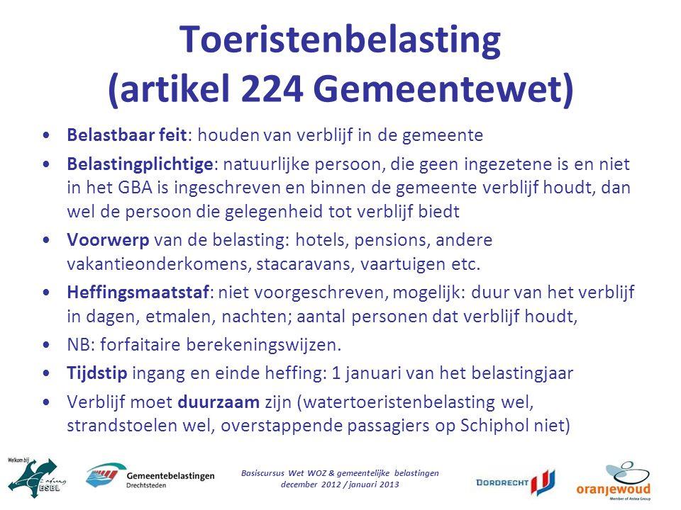 Toeristenbelasting (artikel 224 Gemeentewet)