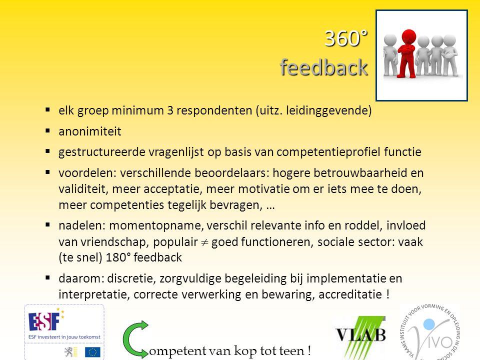 360° feedback elk groep minimum 3 respondenten (uitz. leidinggevende)