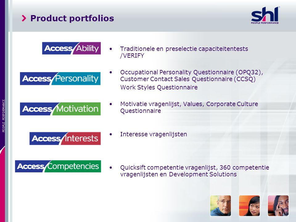 Product portfolios Traditionele en preselectie capaciteitentests /VERIFY.