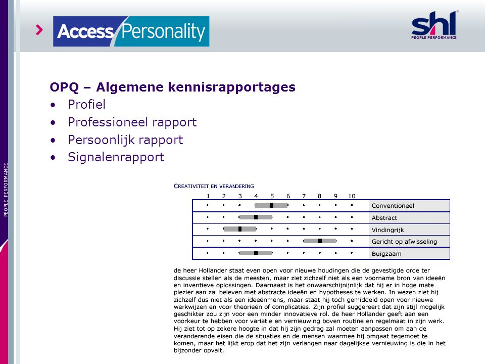 OPQ – Algemene kennisrapportages