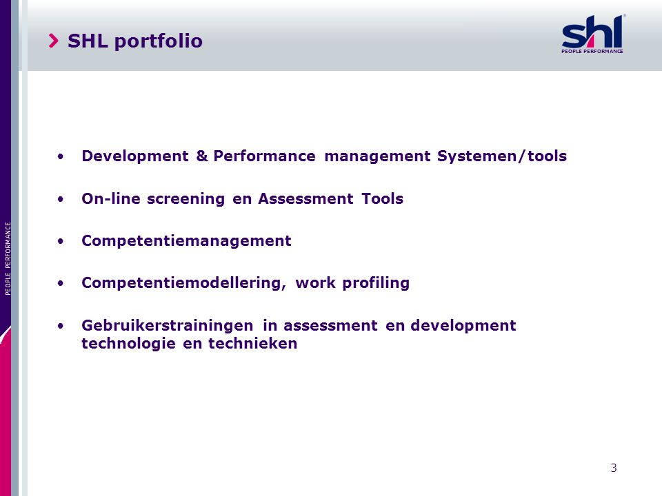SHL portfolio Development & Performance management Systemen/tools