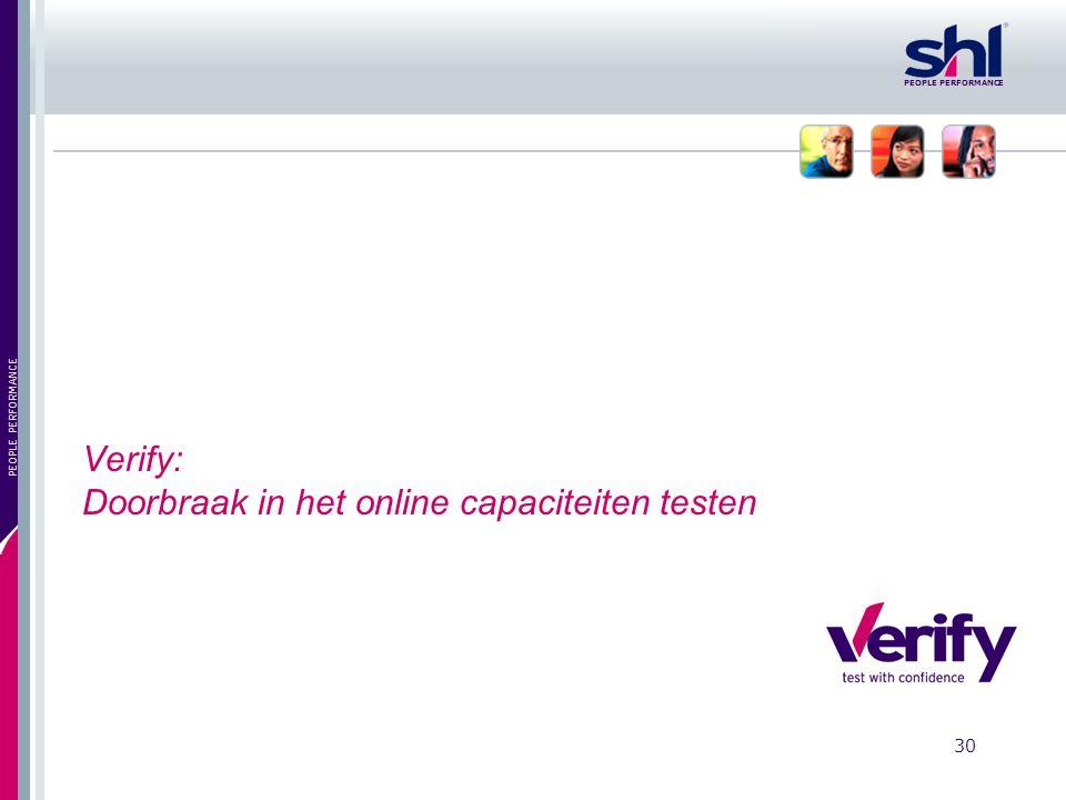 Verify: Doorbraak in het online capaciteiten testen