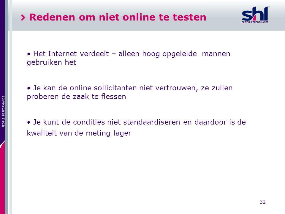 Redenen om niet online te testen