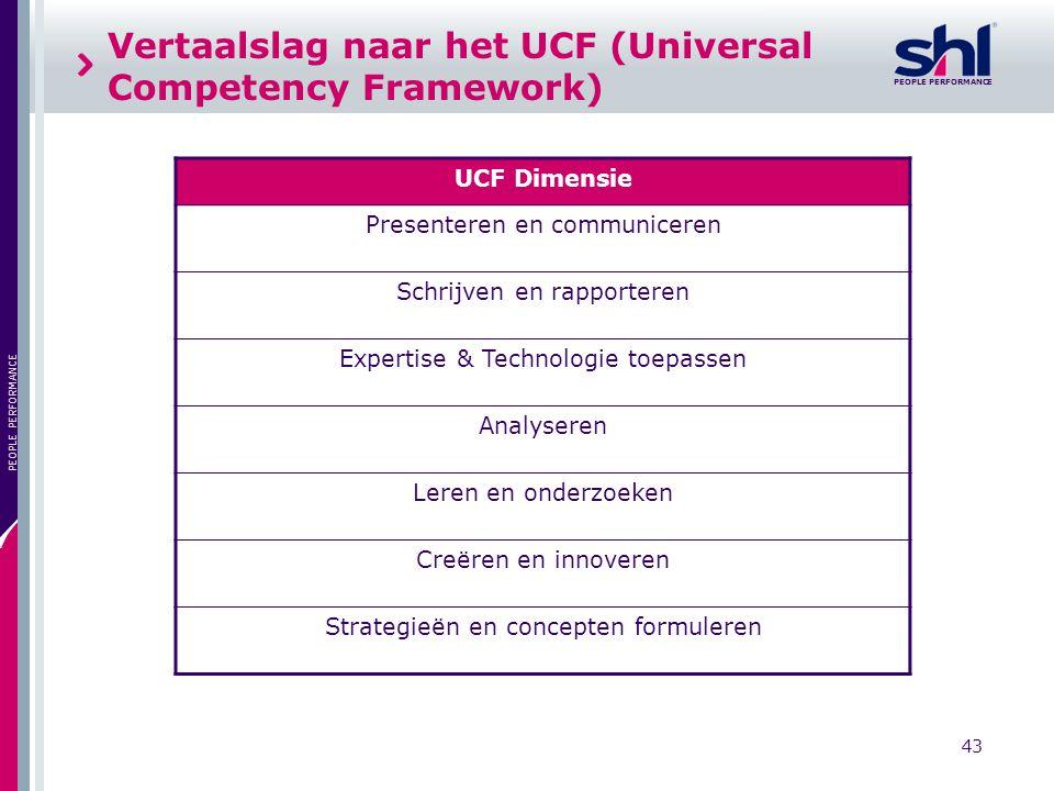Vertaalslag naar het UCF (Universal Competency Framework)