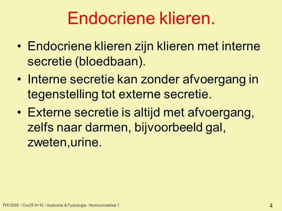 Endocriene klieren. Endocriene klieren zijn klieren met interne secretie (bloedbaan).