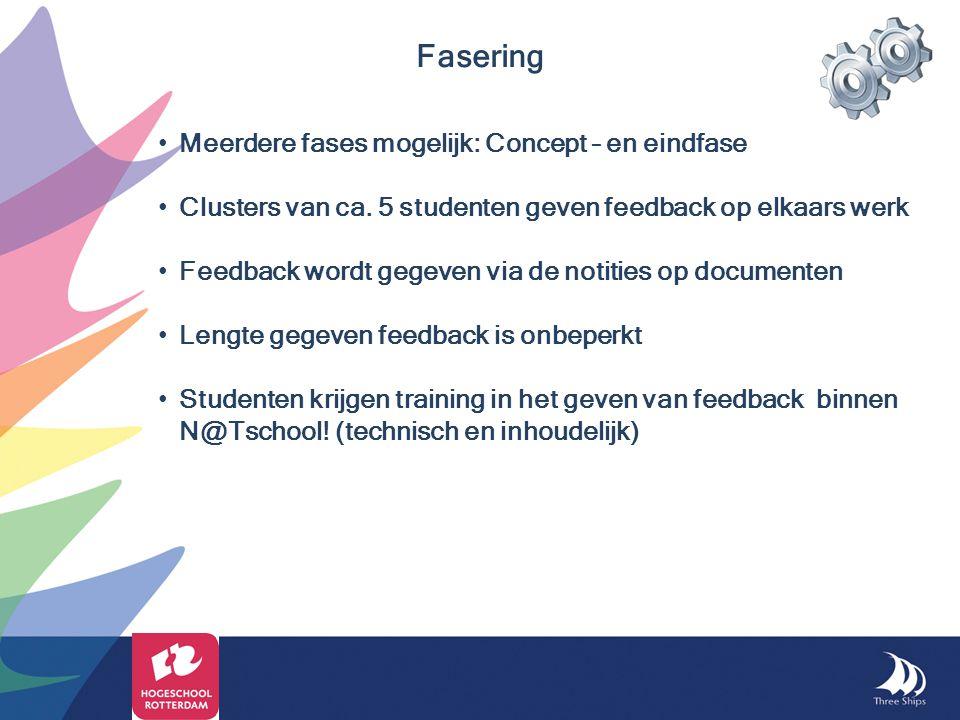 Fasering Meerdere fases mogelijk: Concept – en eindfase