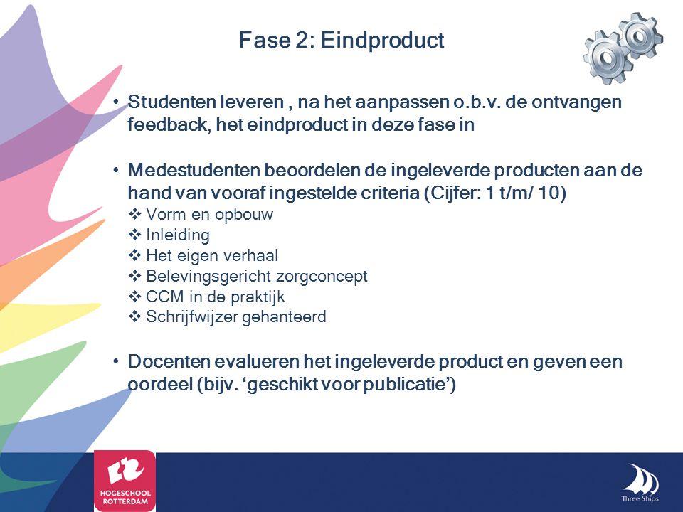 Fase 2: Eindproduct Studenten leveren , na het aanpassen o.b.v. de ontvangen feedback, het eindproduct in deze fase in.