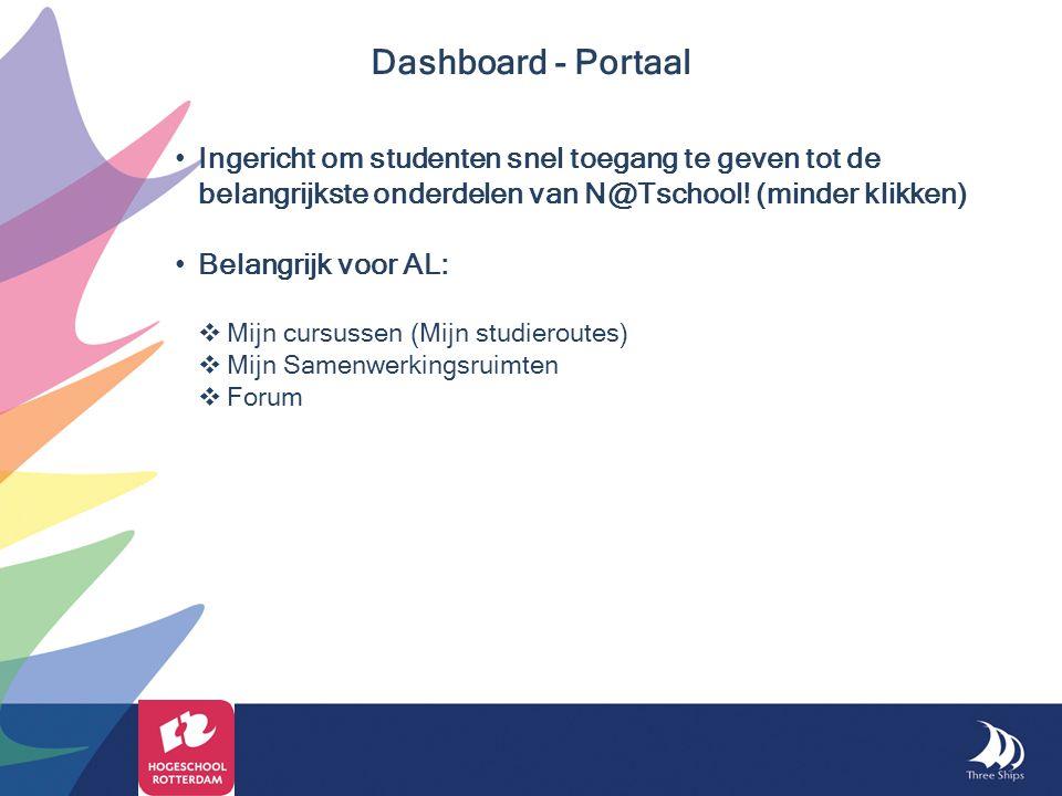 Dashboard - Portaal Ingericht om studenten snel toegang te geven tot de belangrijkste onderdelen van N@Tschool! (minder klikken)