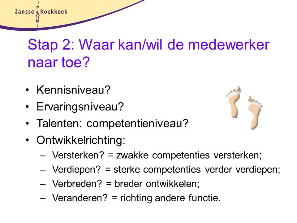 Stap 2: Waar kan/wil de medewerker naar toe