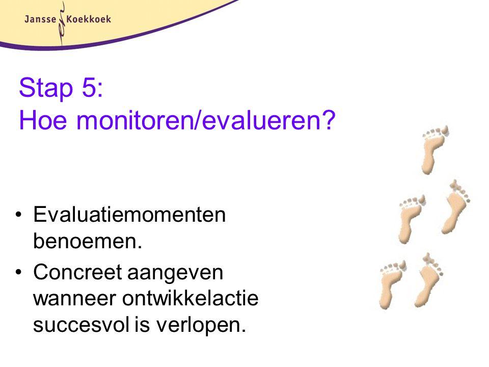 Stap 5: Hoe monitoren/evalueren