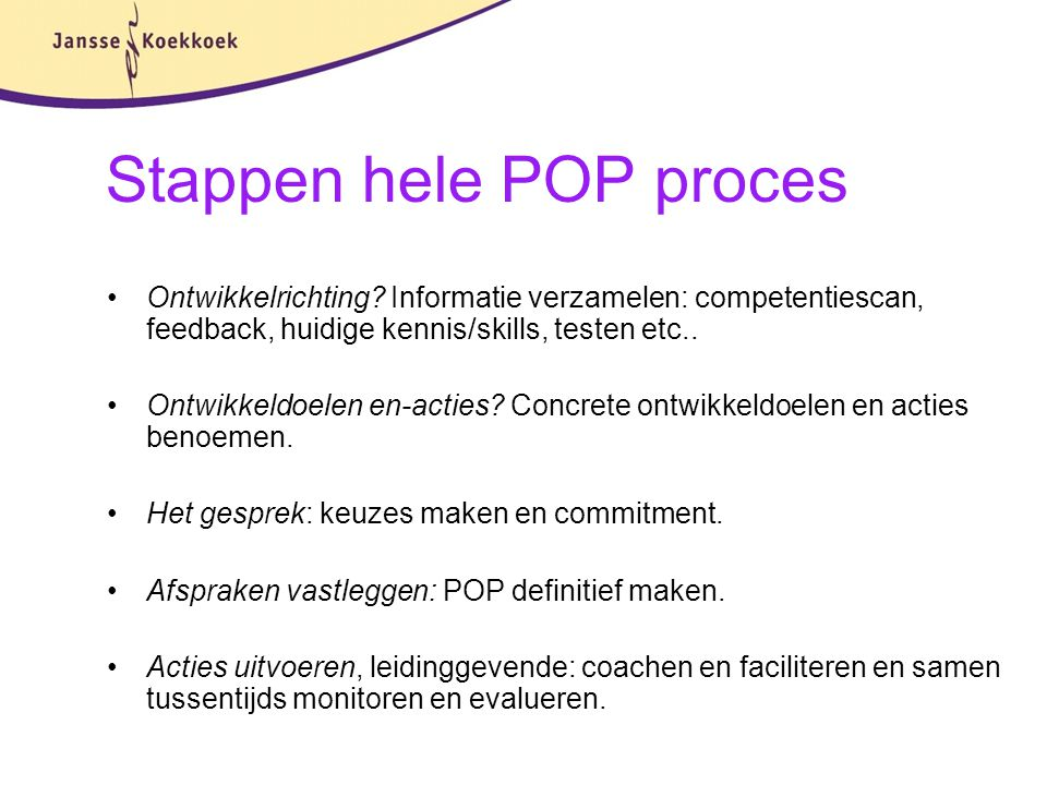 Stappen hele POP proces