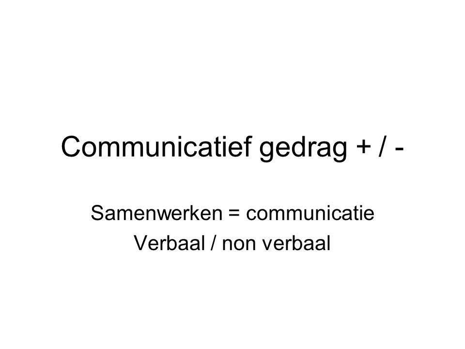Communicatief gedrag + / -