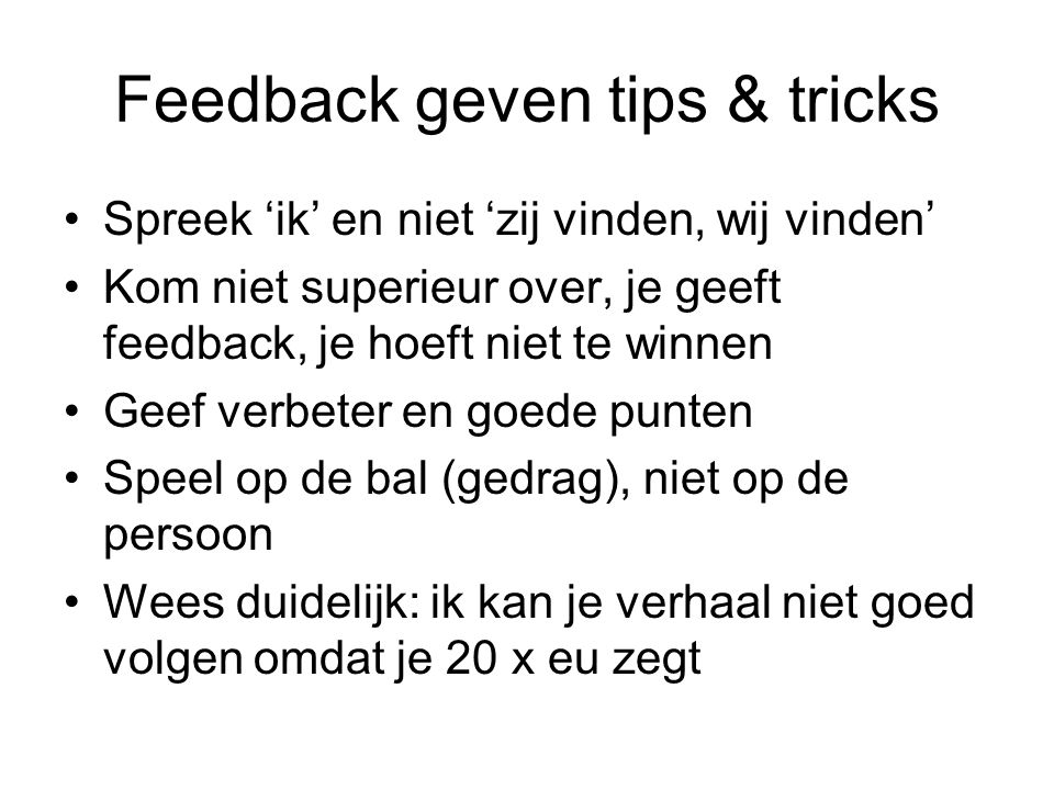 Feedback geven tips & tricks