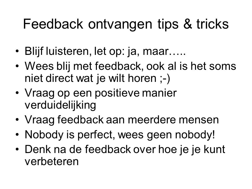 Feedback ontvangen tips & tricks