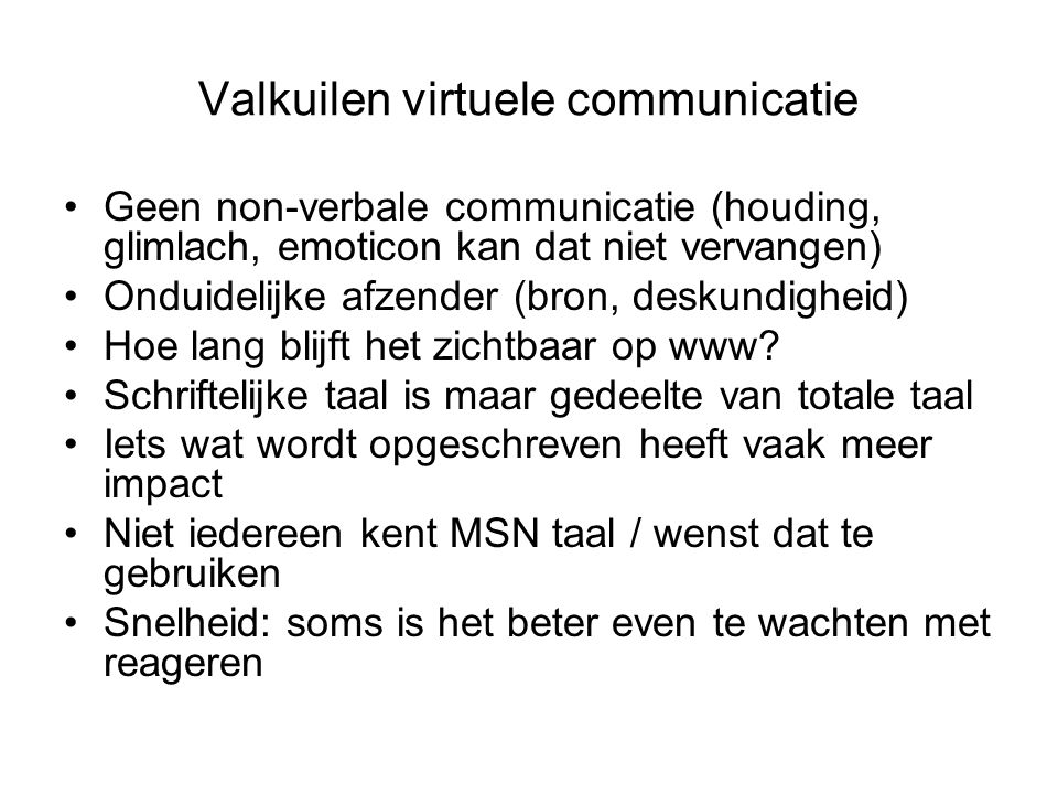 Valkuilen virtuele communicatie