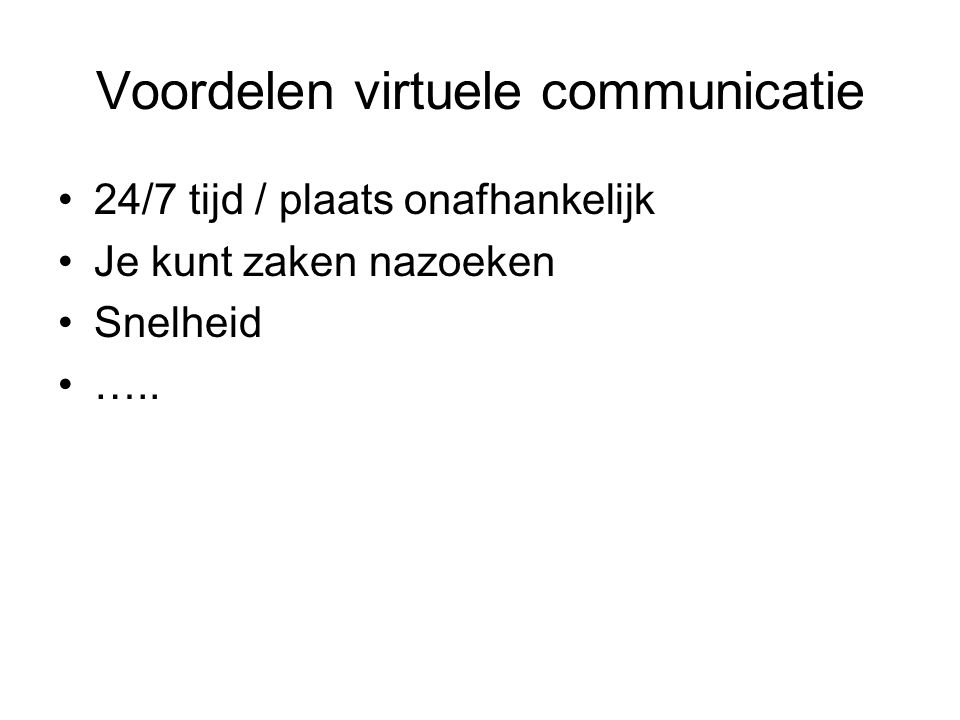 Voordelen virtuele communicatie