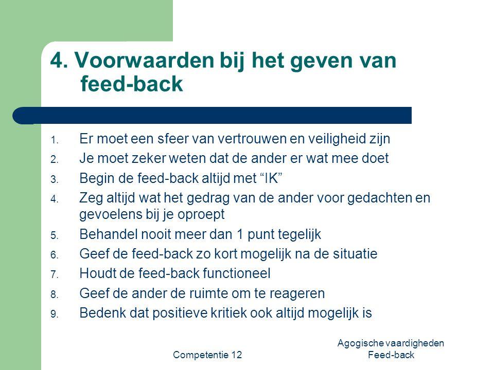 4. Voorwaarden bij het geven van feed-back