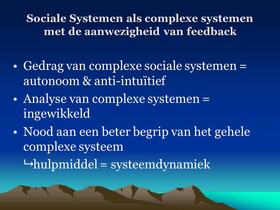 Gedrag van complexe sociale systemen = autonoom & anti-intuïtief