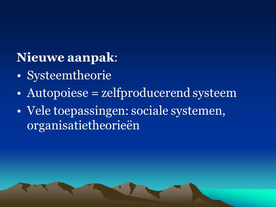 Nieuwe aanpak: Systeemtheorie. Autopoiese = zelfproducerend systeem.