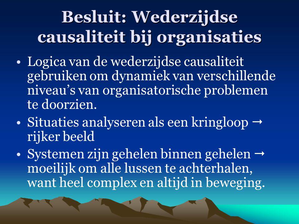 Besluit: Wederzijdse causaliteit bij organisaties