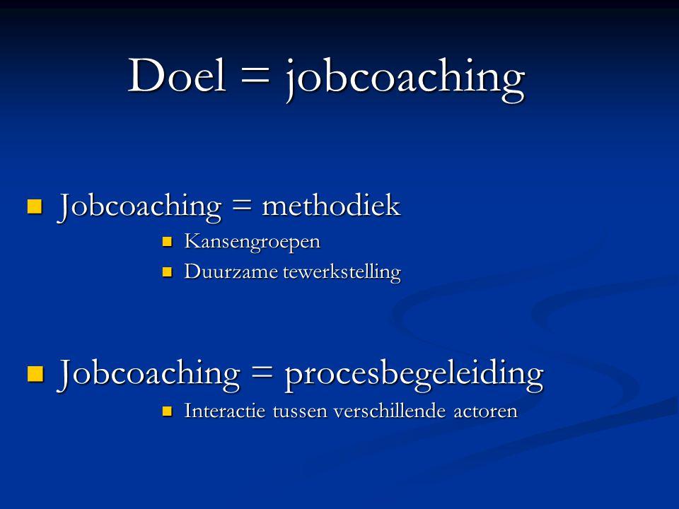 Doel = jobcoaching Jobcoaching = procesbegeleiding