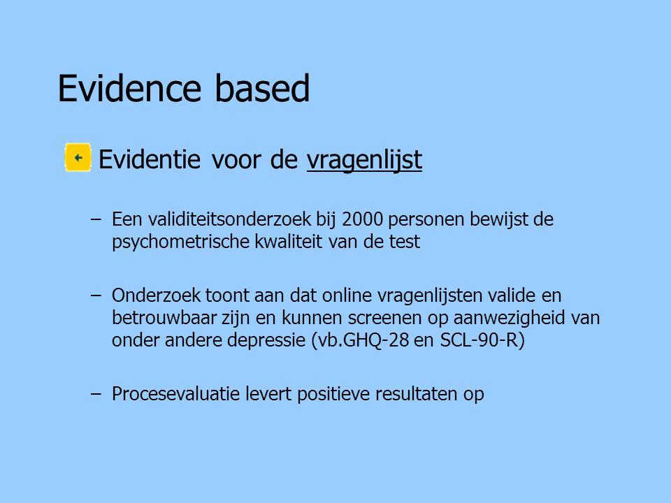 Evidence based Evidentie voor de vragenlijst