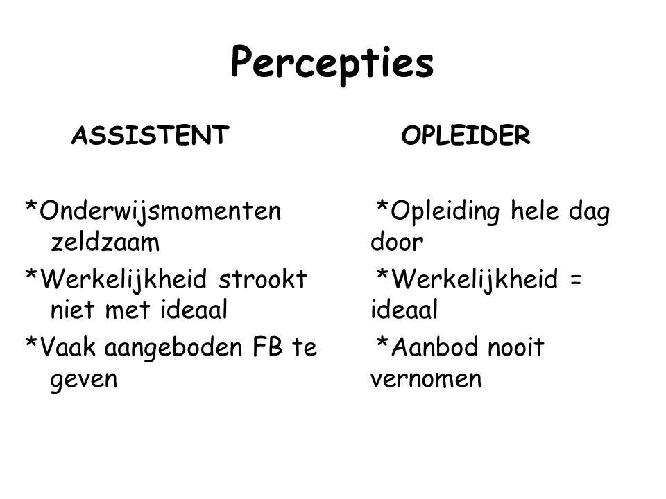 Percepties ASSISTENT *Onderwijsmomenten zeldzaam