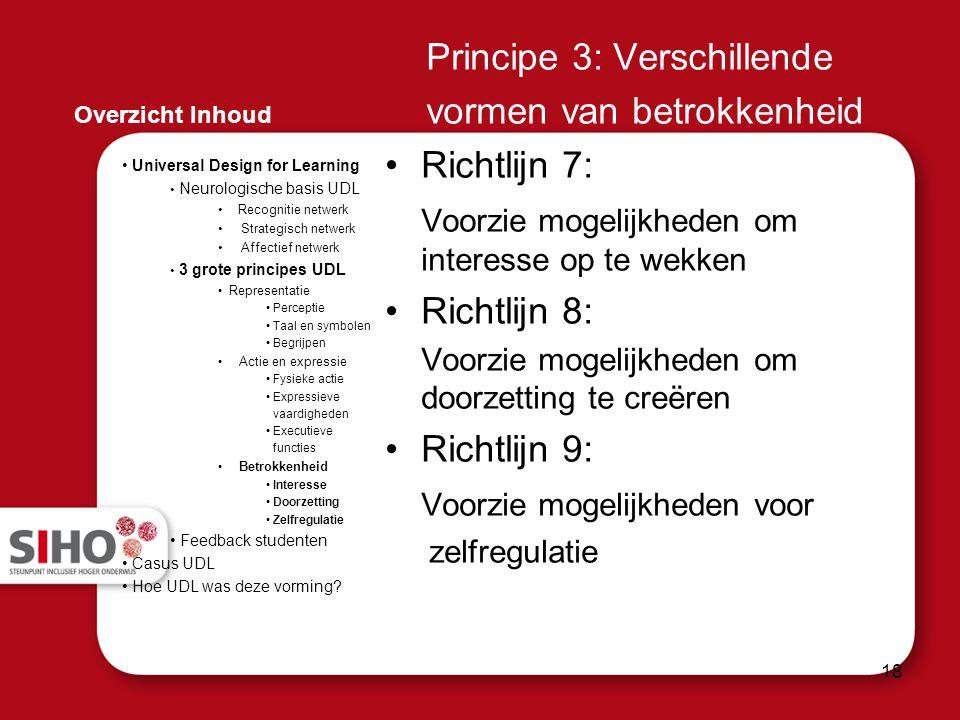 Principe 3: Verschillende vormen van betrokkenheid Richtlijn 7: