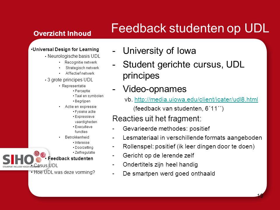 Feedback studenten op UDL